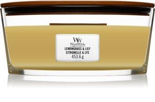 Woodwick Lemongrass & Lily vela perfumada com pavio de madeira (hearthwick)