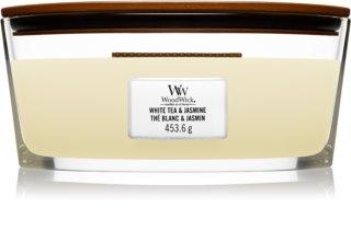 Woodwick White Tea & Jasmine bougie parfumée avec mèche en bois (hearthwick) 453,6 g