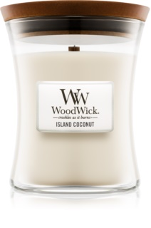 Woodwick Island Coconut bougie parfumée avec mèche en bois 275 g