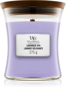 Woodwick Lavender Spa vela perfumada  275 g con mecha de madera