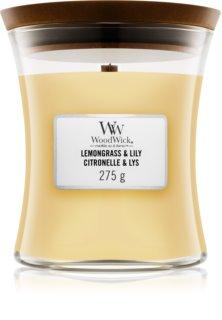 Woodwick Lemongrass & Lily vela perfumada  275 g con mecha de madera