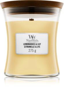 Woodwick Lemongrass & Lily ароматизована свічка  275 гр з дерев'яним гнітом