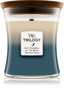 Woodwick Trilogy Beachfront Cottage ароматизована свічка  275 гр з дерев'яним гнітом
