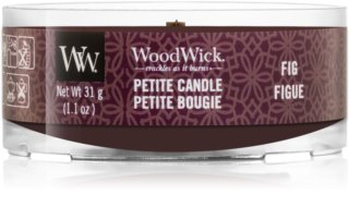 Woodwick Fig candela votiva 31 g con stoppino in legno