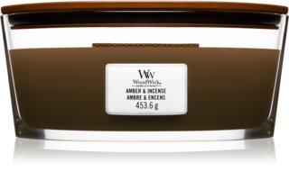 Woodwick Amber & Incense geurkaars met een houten lont (hearthwick)