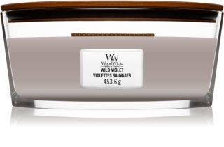 Woodwick Wild Violet vela perfumada com pavio de madeira (hearthwick)