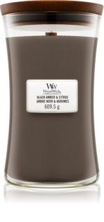 Woodwick Black Amber & Citrus dišeča sveča  velika