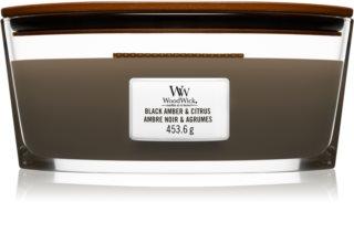 Woodwick Black Amber & Citrus vela perfumada 453,6 g com pavio de madeira (Hearthwick)