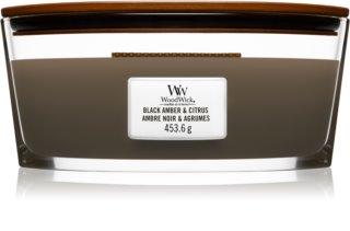 Woodwick Black Amber & Citrus vela perfumada  con mecha de madera (hearthwick) 453,6 g