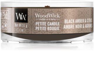 Woodwick Black Amber & Citrus sampler z drewnianym knotem