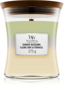 Woodwick Trilogy Terrace Blossoms vela perfumada  275 g con mecha de madera