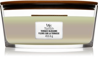 Woodwick Trilogy Terrace Blossoms vela perfumada com pavio de madeira (hearthwick)