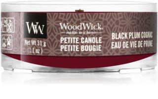 Woodwick Black Plum lumânare votiv cu fitil din lemn