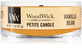 Woodwick Vanilla Bean votivní svíčka s dřevěným knotem