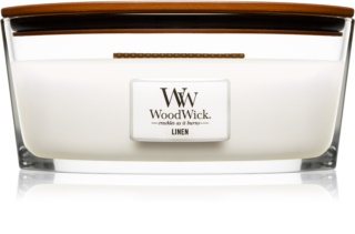Woodwick Linen scented candle wooden wick (hearthwick) 453,6 g