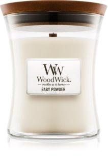 Woodwick Baby Powder vonná sviečka 275 g s dreveným knotom