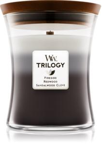Woodwick Trilogy Warm Woods świeczka zapachowa  z drewnianym knotem 275 g