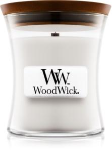 Woodwick Warm Wool vonná svíčka 85 g s dřevěným knotem