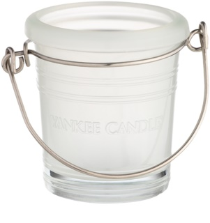 Yankee Candle Glass Bucket Glass Votive Candle Holder   II. White glass