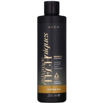 Avon Advance Techniques Supreme Oils shampoing nourrissant intense aux huiles luxueuses pour tous types de cheveux (Shampoo Luxuriously Nourished with Nutri 5 Complex) 251 ml