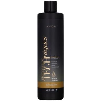 Avon Advance Techniques Supreme Oils shampoing nourrissant intense aux huiles luxueuses pour tous types de cheveux (Shampoo Luxuriously Nourished with Nutri 5 Complex) 400 ml