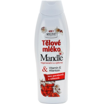 Bione Cosmetics Almonds lait corporel nourrissant à l'huile d'amande (Parabens and Silicons Free, Vitamin E, Allantoin) 500 ml
