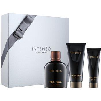 Dolce & Gabbana Pour Homme Intenso coffret cadeau I. eau de parfum 125 ml + baume après-rasage 100 ml + gel de douche 50 ml