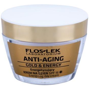 FlosLek Laboratorium Anti-Aging Gold & Energy crème de jour énergisante SPF 15 (Restores Elasticity, Brightens the Skin) 50 ml