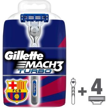 Gillette Mach 3 Turbo FCBarcelona rasoir + lames de rechange 4 pièces