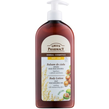 Green Pharmacy Body Care Oat & Macadamia Oil lait corporel apaisant et hydratant (0% Parabens, Artificial Colouring) 500 ml