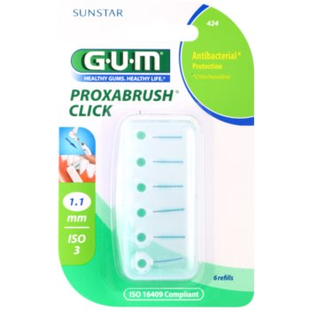 G.U.M Proxabrush Click blister de brossettes interdentaires de rechange 6 pcs 1,1 mm (Refills)