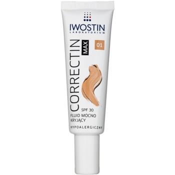 Iwostin Max Correctin fluide matifiant couverture longue tenue pour peaux sensibles SPF 30 teinte Light 30 ml