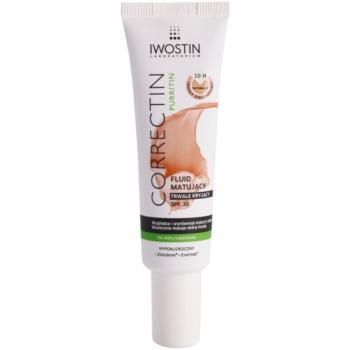 Iwostin Purritin Correctin fluide matifiant couverture longue tenue pour peaux acnéiques SPF 30 teinte Natural 30 ml