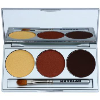 Kryolan Basic Eyes palette de fards à paupières avec miroir et applicateur teinte Smokey Brown 7,5 g