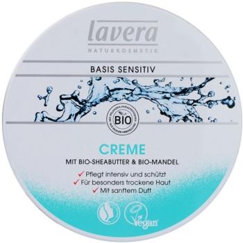 Lavera Basis Sensitiv crème de jour nourrissante et hydratante pour peaux sèches (Cream Bio Shea Butter and Bio Almond) 150 ml