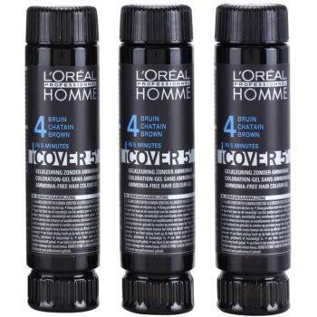 L'Oréal Professionnel Homme Color coloration cheveux 3 pcs teinte 4 Medium Brown (Color Gel Ammoniak-free) 3×50 ml
