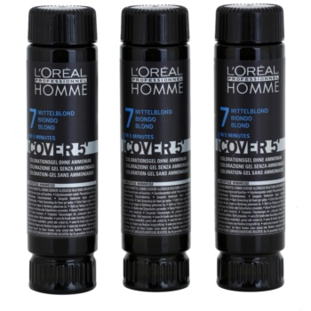 L'Oréal Professionnel Homme Color coloration cheveux 3 pcs teinte 7 Blond (Color Gel Ammoniak-free) 3×50 ml