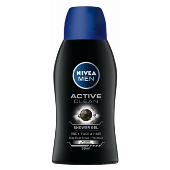 Nivea Men Active Clean gel de douche pour homme (Body, Face and Hair) 50 ml