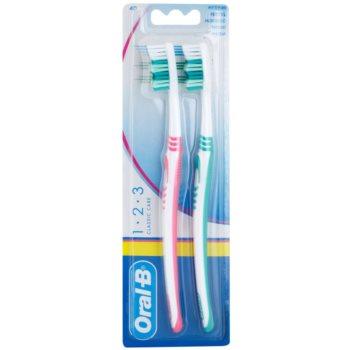 Oral B 1-2-3 Classic Care brosses à dents medium 2 pcs Pink & Green