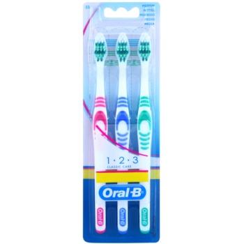Oral B 1-2-3 Classic Care brosses à dents medium 3 pcs Pink & Blue & Green