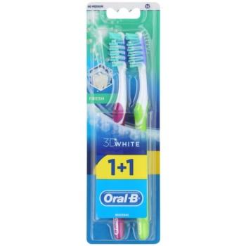 Oral B 3D White Fresh brosses à dents medium 2 pcs Violet & Green