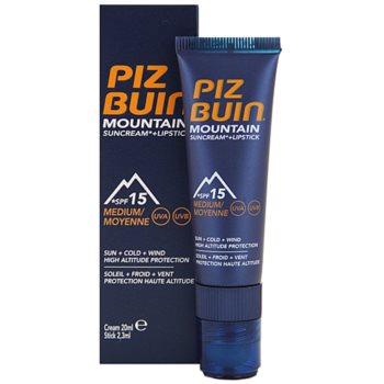 Piz Buin Mountain crème protectrice visage et baume à lèvres 2 en 1 SPF 15 20 ml