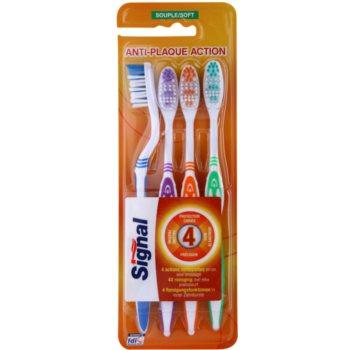 Signal Anti-Plaque Action brosses à dents soft 4 pièces Blue & Violet & Orange & Green