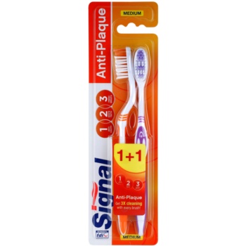 Signal Anti-Plaque brosses à dents medium 2 pcs Orange & Violet (3x Cleaning With Every Brush)