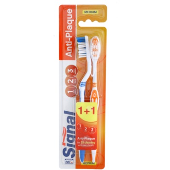 Signal Anti-Plaque brosses à dents medium 2 pcs Blue & Orange (3x Cleaning With Every Brush)