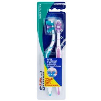 Signal Super Clean brosses à dents soft 2 pcs Green & Violet  (Deep Cleaninig V-Bristles)