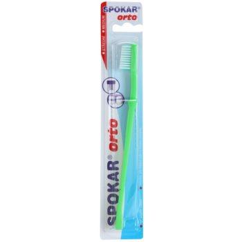 Spokar Orto brosse à dents pour les utilisateurs d'appareils dentaires fixes medium Green