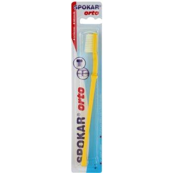 Spokar Orto brosse à dents pour les utilisateurs d'appareils dentaires fixes medium Yellow
