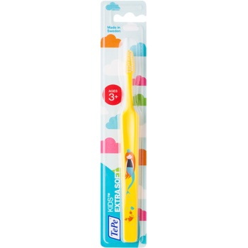 TePe Kids brosse à dents pour enfants extra soft Yellow (Small Toothbrush with Tapered Brush Head, 3+ Ages)