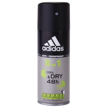 Adidas 6 in 1 Cool & Dry deospray per uomo 150 ml
